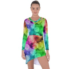 Abstraction Multicolored Glare  Asymmetric Cut Out Shift Dress
