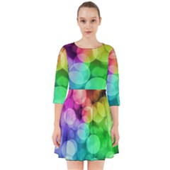 Abstraction Multicolored Glare  Smock Dress