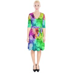 Abstraction Multicolored Glare  Wrap Up Cocktail Dress
