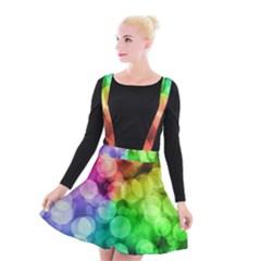 Abstraction Multicolored Glare  Suspender Skater Skirt