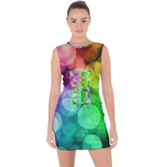 Abstraction Multicolored Glare  Lace Up Front Bodycon Dress