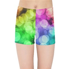 Abstraction Multicolored Glare  Kids Sports Shorts