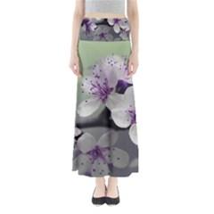 Branch Flowering Cherry Spring  Full Length Maxi Skirt