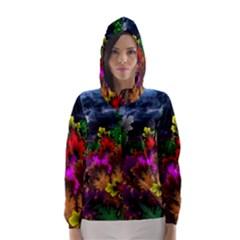 Patterns Colorful Background Dark  Hooded Wind Breaker (women)
