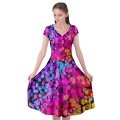Colorful Community Glare Bright  Cap Sleeve Wrap Front Dress