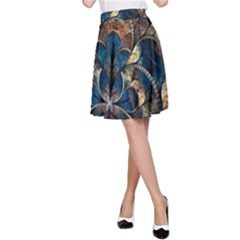 Abstract Pattern Blue And Gold A Line Skirt