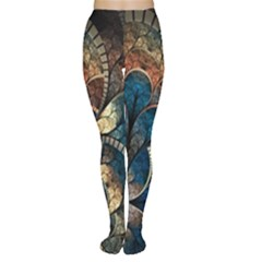Abstract Pattern Blue And Gold Women s Tights