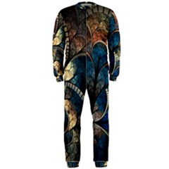 Abstract Pattern Blue And Gold Onepiece Jumpsuit (men)