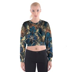 Abstract Pattern Blue And Gold Cropped Sweatshirt