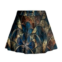 Abstract Pattern Blue And Gold Mini Flare Skirt