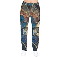 Abstract Pattern Blue And Gold Drawstring Pants