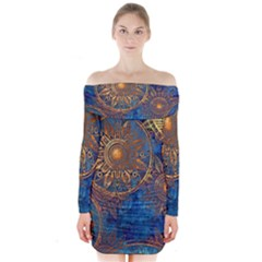 Abstract Pattern R 24 Resize Long Sleeve Off Shoulder Dress