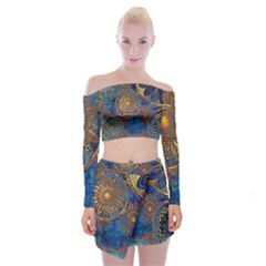 Abstract Pattern R 24 Resize Off Shoulder Top With Skirt Set