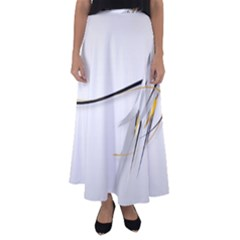 White Abstract  Flared Maxi Skirt