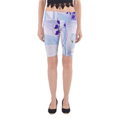 Purple Lilac Blue Flowers Patterns  Yoga Cropped Leggings