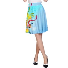 Patterns Multicolored Colorful  A Line Skirt
