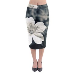 Flower White Black Blue  Midi Pencil Skirt
