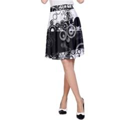 Black White Spot Shape Smeared  A Line Skirt
