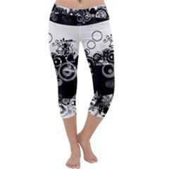 Black White Spot Shape Smeared  Capri Yoga Leggings