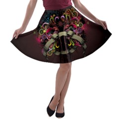 Design Drawing Colorful Creative  A Line Skater Skirt