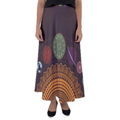 Divination Planets Colorful Rotation Flared Maxi Skirt