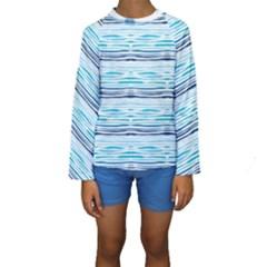 Watercolor Blue Abstract Summer Pattern Kids  Long Sleeve Swimwear