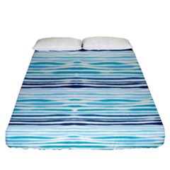Watercolor Blue Abstract Summer Pattern Fitted Sheet (queen Size)