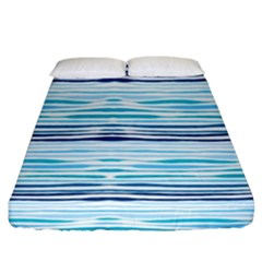 Watercolor Blue Abstract Summer Pattern Fitted Sheet (king Size)