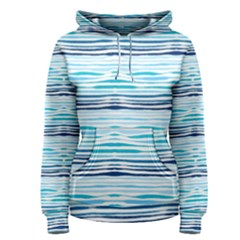 Watercolor Blue Abstract Summer Pattern Women s Pullover Hoodie