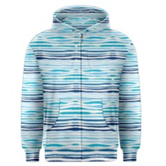 Watercolor Blue Abstract Summer Pattern Men s Zipper Hoodie