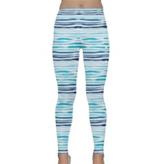 Watercolor Blue Abstract Summer Pattern Classic Yoga Leggings