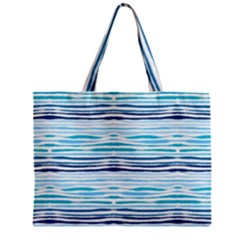 Watercolor Blue Abstract Summer Pattern Zipper Mini Tote Bag