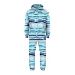 Watercolor Blue Abstract Summer Pattern Hooded Jumpsuit (kids)