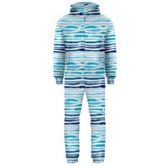 Watercolor Blue Abstract Summer Pattern Hooded Jumpsuit (men)
