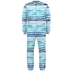 Watercolor Blue Abstract Summer Pattern Onepiece Jumpsuit (men)