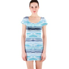 Watercolor Blue Abstract Summer Pattern Short Sleeve Bodycon Dress