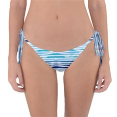 Watercolor Blue Abstract Summer Pattern Reversible Bikini Bottom