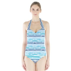 Watercolor Blue Abstract Summer Pattern Halter Swimsuit