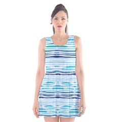 Watercolor Blue Abstract Summer Pattern Scoop Neck Skater Dress
