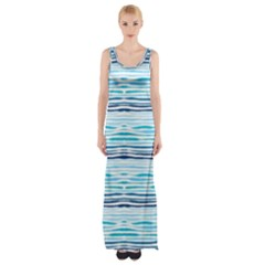 Watercolor Blue Abstract Summer Pattern Maxi Thigh Split Dress