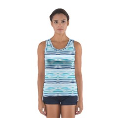Watercolor Blue Abstract Summer Pattern Sport Tank Top