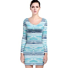 Watercolor Blue Abstract Summer Pattern Long Sleeve Velvet Bodycon Dress