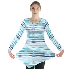 Watercolor Blue Abstract Summer Pattern Long Sleeve Tunic