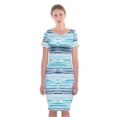 Watercolor Blue Abstract Summer Pattern Classic Short Sleeve Midi Dress