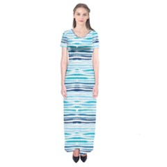 Watercolor Blue Abstract Summer Pattern Short Sleeve Maxi Dress