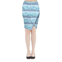 Watercolor Blue Abstract Summer Pattern Midi Wrap Pencil Skirt