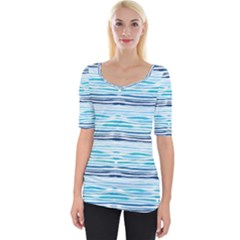 Watercolor Blue Abstract Summer Pattern Wide Neckline Tee