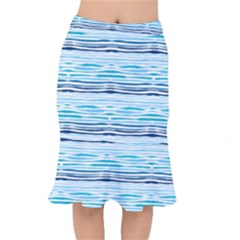 Watercolor Blue Abstract Summer Pattern Mermaid Skirt