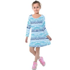 Watercolor Blue Abstract Summer Pattern Kids  Long Sleeve Velvet Dress