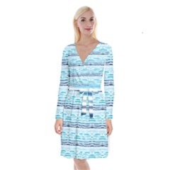 Watercolor Blue Abstract Summer Pattern Long Sleeve Velvet Front Wrap Dress